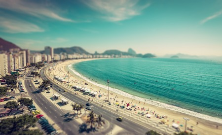 tilt view: Copacabana Beach and Sugar Loaf Mountain aerial view, Rio de Janeiro,Brazil. Tilt shift effect