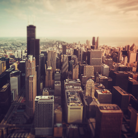 tilt view: Chicago Downtown- aerial view with desaturated colors. Tilt shift effect Stock Photo