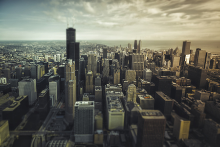 shift: Chicago Downtown- aerial view with desaturated colors. Tilt shift effect Stock Photo