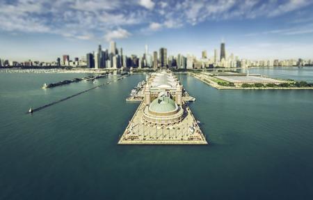 tilt view: Chicago Skyline aerial view Navy Pier, Tilt shift effect Stock Photo