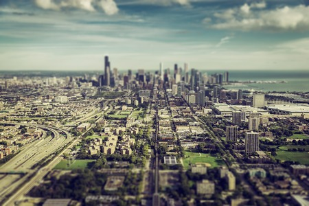 tilt view: Chicago Downtown aerial view with Tilt Shift effect