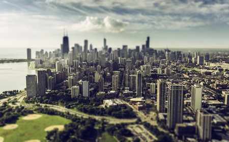 tilt view: Chicago Skyline aerial view with downtown skyscrapers. Tilt shift effect