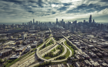 tilt view: City of Chicago aerial view with streets leading to Downtown. Tilt shift effect