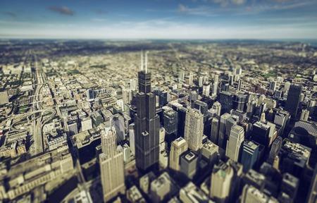 tilt view: Chicago downtown skyscrapers overhead view. Tilt shift effect