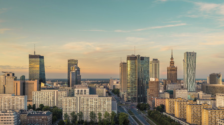 Warsaw Downtown Skyline, late afternoon light, Poland
