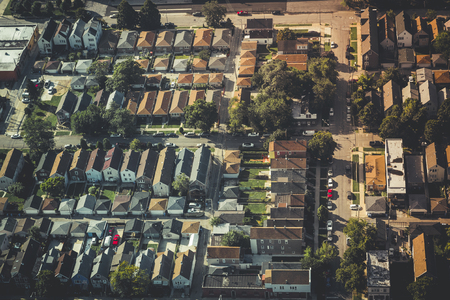 typical: Aerial above typical City of Chicago Houses, Vintage Colors