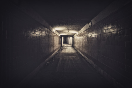 Empty underpass tunnel at night, desaturated colors 写真素材
