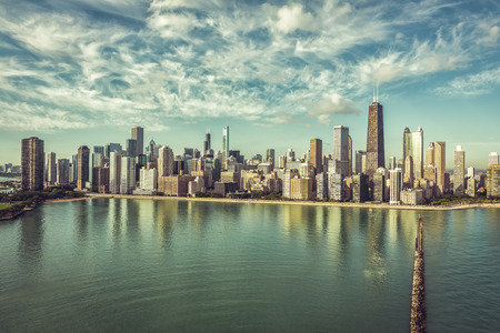 Chicago Skyline Aerial Skyscrapers. View ffrom the lake , vintage colors. Stock Photo