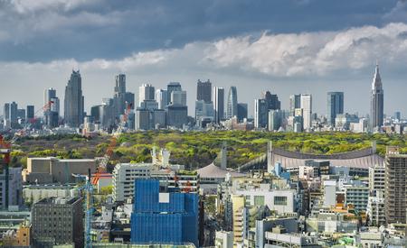Tokyo skyline with Shinjuku skyscrapers and Yoyogi Park, Japan