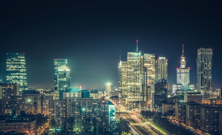 Warsaw downtown at night, Poland. Wide angle. Vintage colors