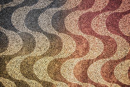Copacabana Beach Mosaic top view with color light leak, Rio de Janeiro, Brazil Stock Photo