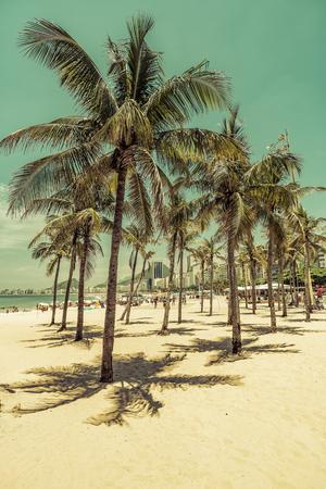 View through the palms to Copacabana Beach in Rio de Janeiro, Brazil. Vintage colors