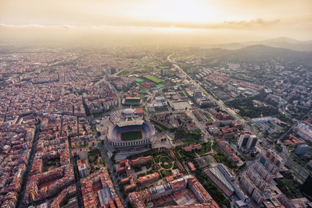 Aerial view of Barcelona city stadium at sunset, Spain Imagens