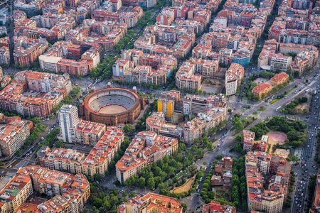 Aerial view of Barcelona buildings, high angle view of the city urban grid, Spain Reklamní fotografie