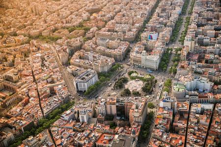 Barcelona aerial view, Placa de Catalunya with typical urban design, Spain. Banco de Imagens