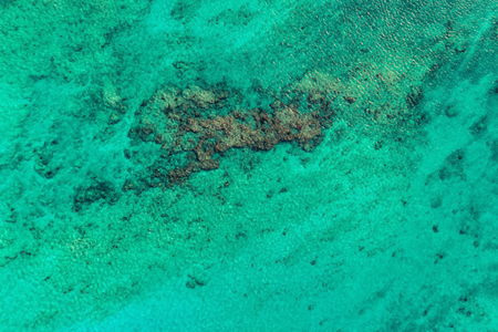 Top view of  bright ocean water with reefs. Nature summer background