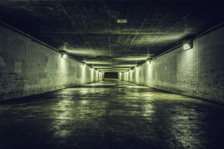 Empty tunnel with stairs at night Reklamní fotografie