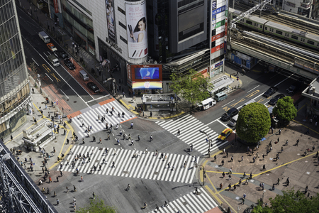 TOKYO, JAPAN - CIRCA APRIL 2017: Pedestrian scramble crosswalk in Shibuya, Tokyo. It is famous to be one of the busiest crosswalks in the world