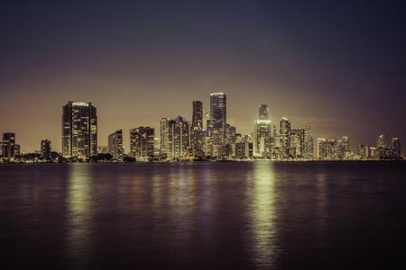 Miami city downtown at night in South Florida