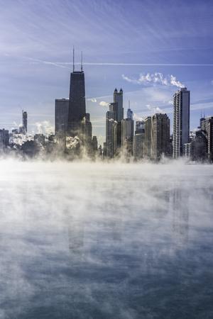 Downtown Chicago with winter fog on Lake Michigan. Polar vortex Reklamní fotografie
