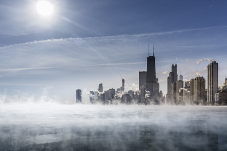 Fog above Lake Michigan along Chicago Downtown shoreline. Winter polar vortex