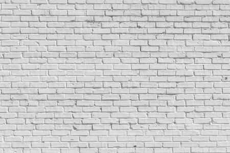 Old Brick painted white wall, can be used for texture or background