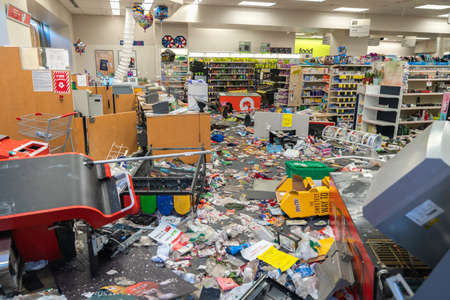 CHICAGO, ILLINOIS - MAY 31, 2019: CVS Pharmacy store interior destroyed by the protesters after nights of riots, looting and chaos in Downtown Chicago Editorial