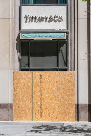 CHICAGO, ILLINOIS - MAY 31, 2019: Board up storefront after Chicago's justice for George Floyd protests