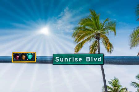 Sunrise Boulevard street sign with palm tree and sunbeams Foto de archivo