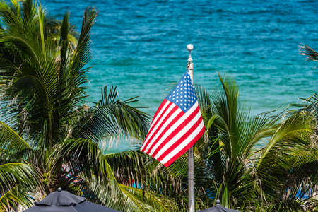 American flag waving on palm trees and ocean background Foto de archivo