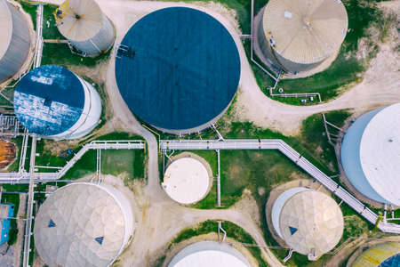 Aerial top view of oil refinery, fuel storage facility