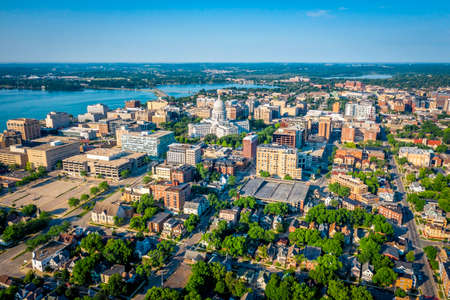 Aerial skyline view of Madison city downtown, morning light, summertime Foto de archivo
