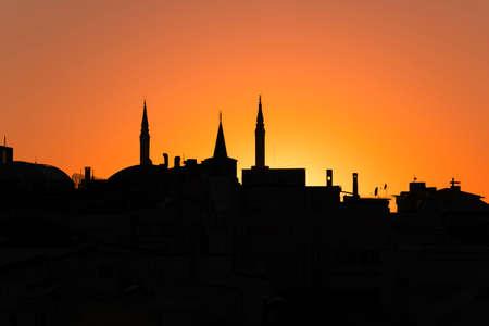 Istanbul skyline silhouette with sunset sky, Turkey