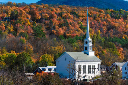 White Community Church in famous ski town of Stowe in Vermont at fall