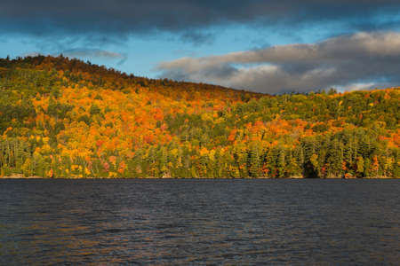 Foliage in Vermont. Multicolor trees on the hills by the lake