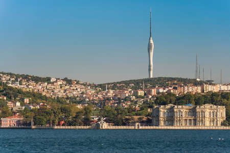 Panorama of Istanbul shore with famous tall Camilica tower on the hill of Uskudar, Turkey. View from the water 版權商用圖片