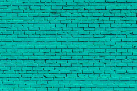 Old Brick painted green wall, can be used for background Foto de archivo
