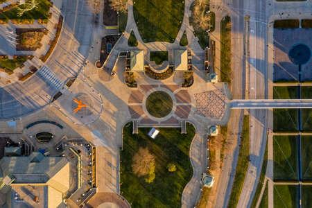 Aerial top down view of main square in Milwaukee, Wisconsin 版權商用圖片