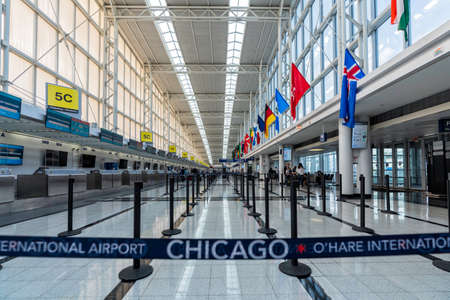 CHICAGO, USA - AUGUST 26, 2020: Chicago O'Hare International Airport during Coronavirus pandemic
