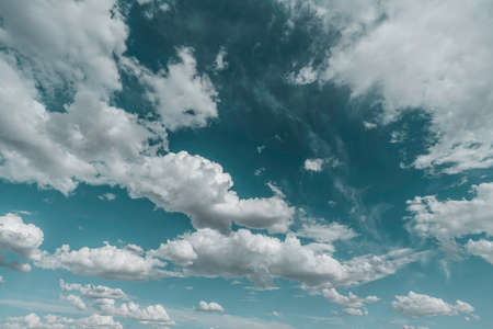 White clouds on blue sky, summer background Foto de archivo
