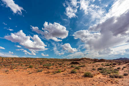 Desert landscape and blue sky with puffy clouds, Utah