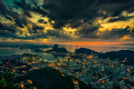 Sunrise over Botafogo Bay and Sugar Loaf in Rio de Janeiro, Brazil