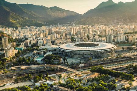 RIO DE JANEIRO, BRAZIL - FEBRUARY 2016: Aerial view of Maracana Stadium with panorama of Rio De Janeiro