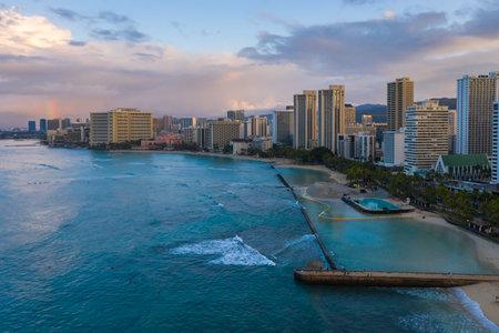 Sunrise above famous Waikiki Beach in Honolulu, Oahu Island, Hawaii