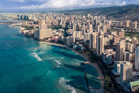 Sunrise above Waikiki Beach in Honolulu, Oahu Island, Hawaii. Famous surfers place on the island