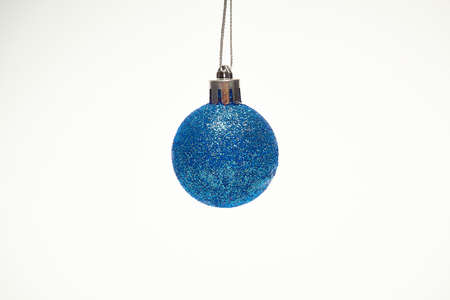 Blue Christmas ball on a white background, New Year, Christmas toys, holiday, Christmas