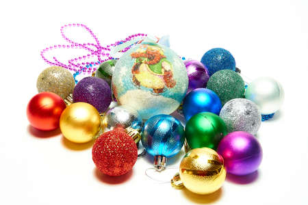 Christmas balls on a white background, new year, christmas toys, holiday, christmas