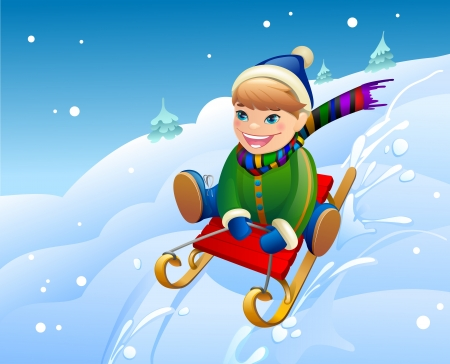 llustration of a boy on a snow  Stock Photo
