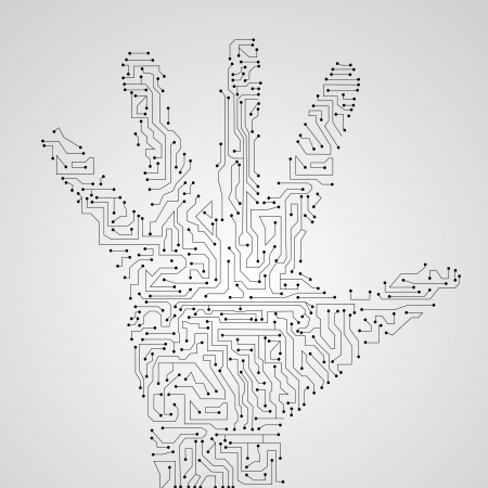 Circuit board shape of hand  Stock Vector - 17665305