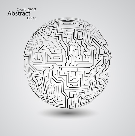 Circuit board planet  vector illustration Illustration